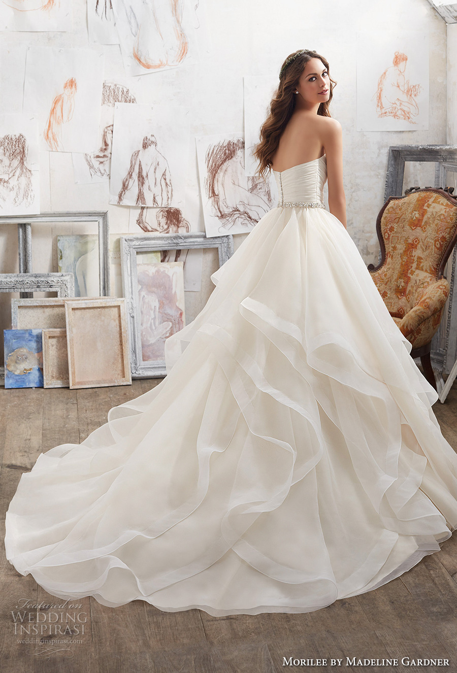 morilee spring 2017 bridal strapless sweetheart neckline ruched bodice layer skirt princess romantic ball gown a  line wedding dress chapel train (5504) bv