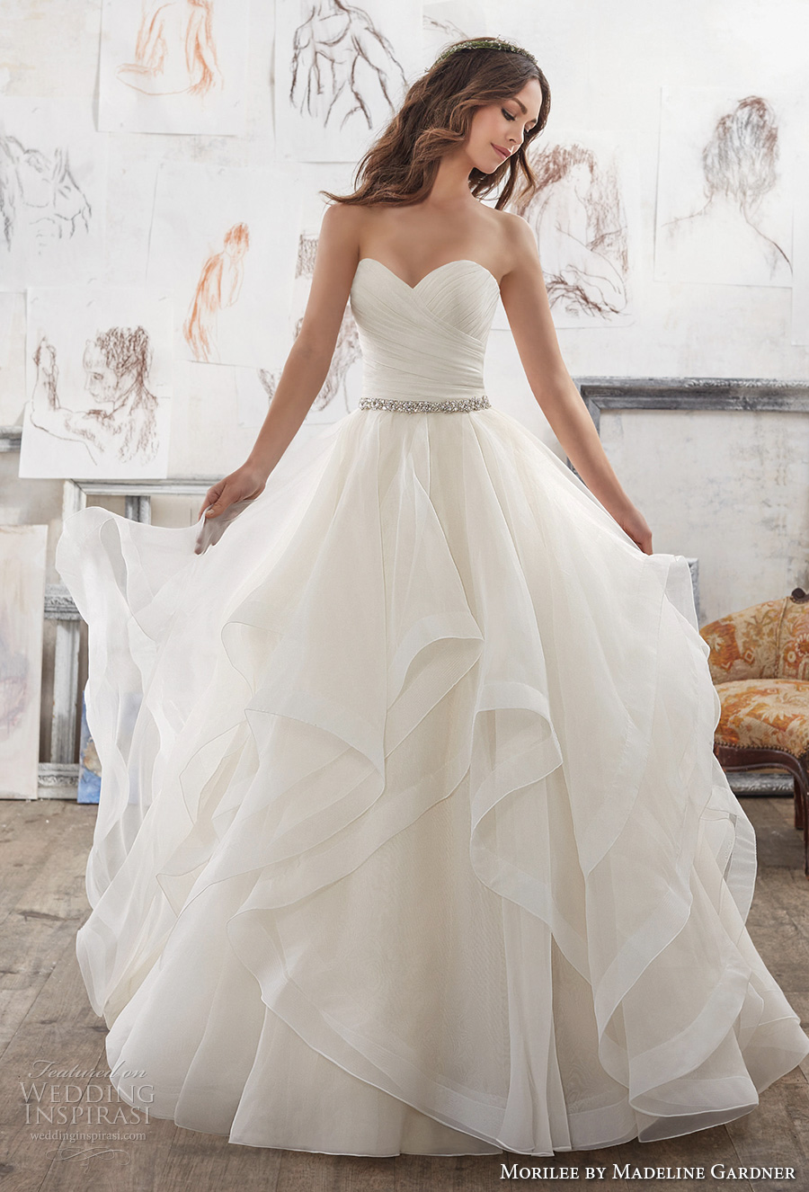 morilee spring 2017 bridal strapless sweetheart neckline ruched bodice layer skirt princess romantic ball gown a  line wedding dress chapel train (5504) mv