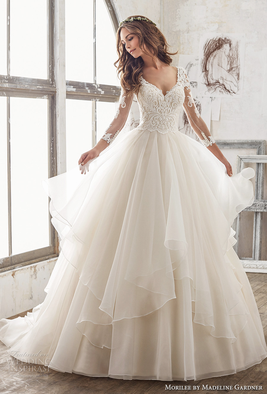 morilee spring 2017 bridal three quarter sleeves sweetheart neckline heavily embellished bodice layer skirt princess ball gown a line wedding dress sheer keyhole back chapel train (5517) mv