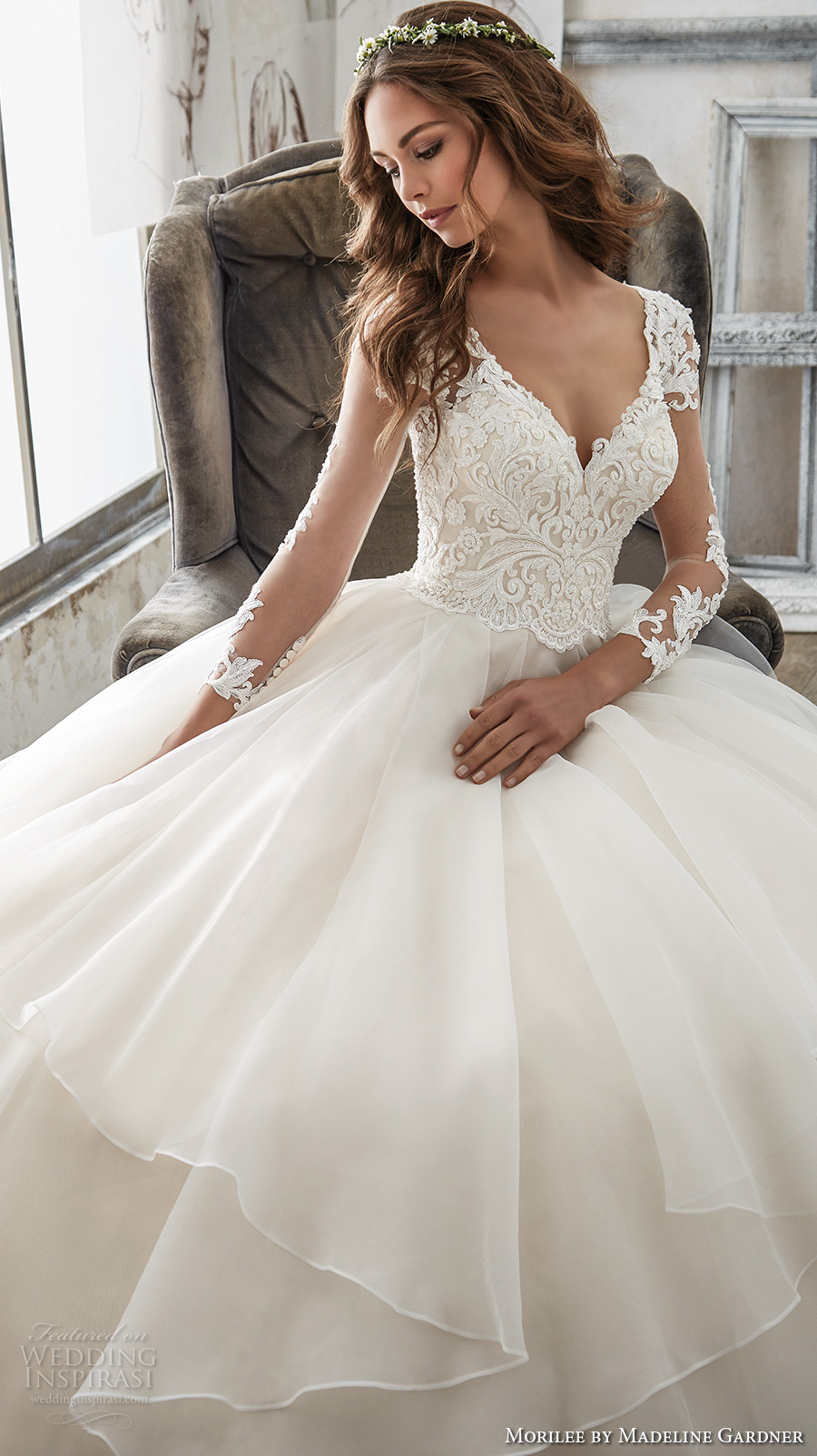 morilee spring 2017 bridal three quarter sleeves sweetheart neckline heavily embellished bodice layer skirt princess ball gown a line wedding dress sheer keyhole back chapel train (5517) zv