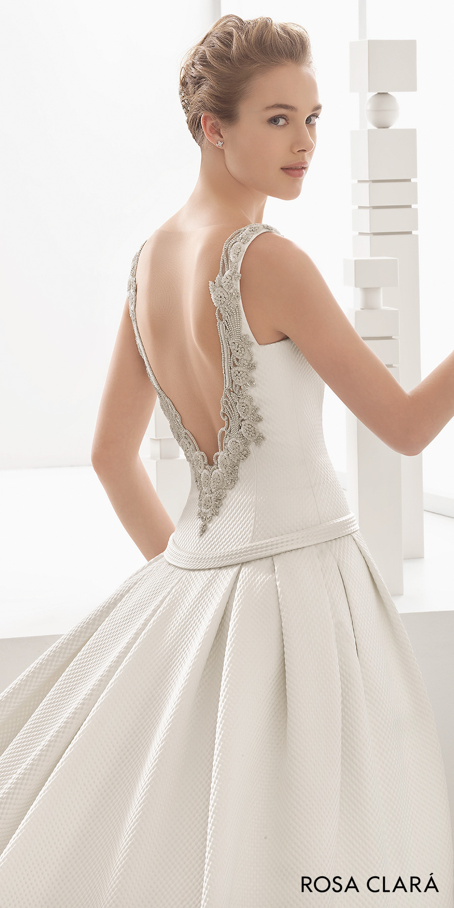rosa clara 2017 bridal sleeveless bateau neck simple drop waist a  line wedding dress pockets open low back chapel train (nasia) zbv