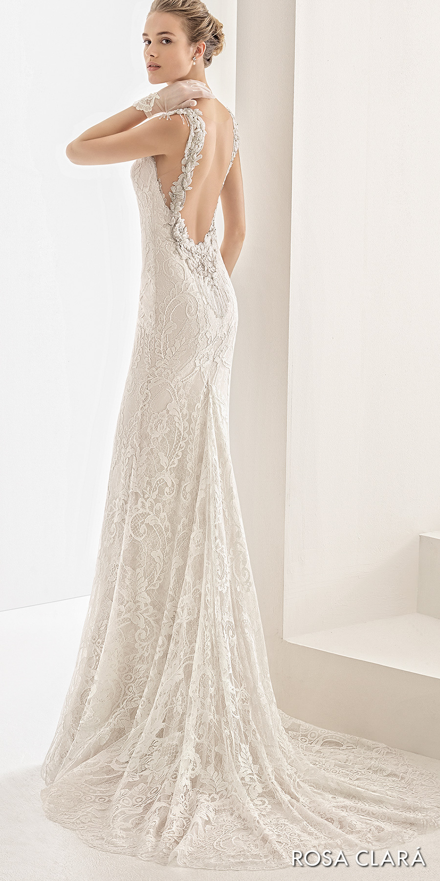 rosa clara 2017 bridal sleeveless embellished strap sweetheart neckline full embellishment elegant sheath wedding dress open low back sweep train (naila) bv