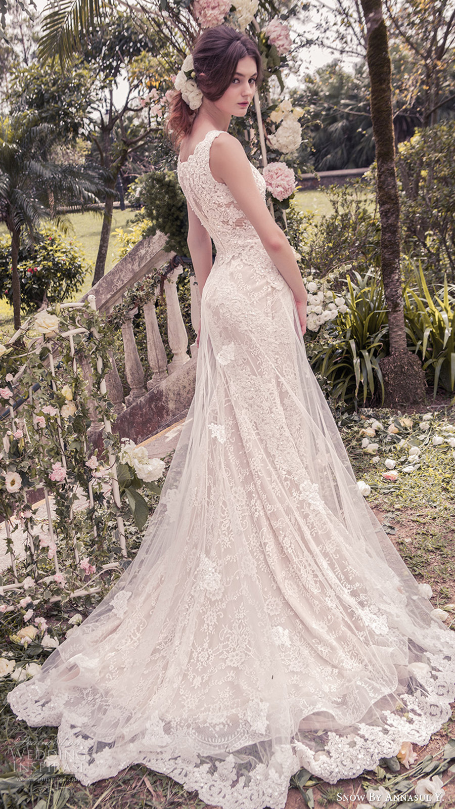 snow annasul y 2017 bridal (sa3244b) sleeveless v neck a line lace wedding dress train sv illusion back train