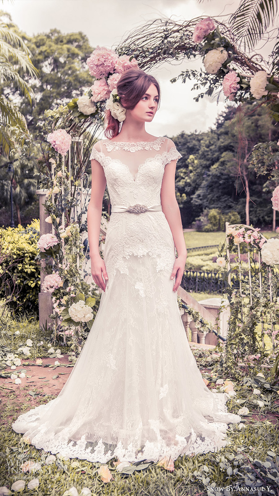 snow annasul y 2017 bridal (sa3265b) cap sleeves illusion bateau neck sweetheart trumpet lace wedding dress mv