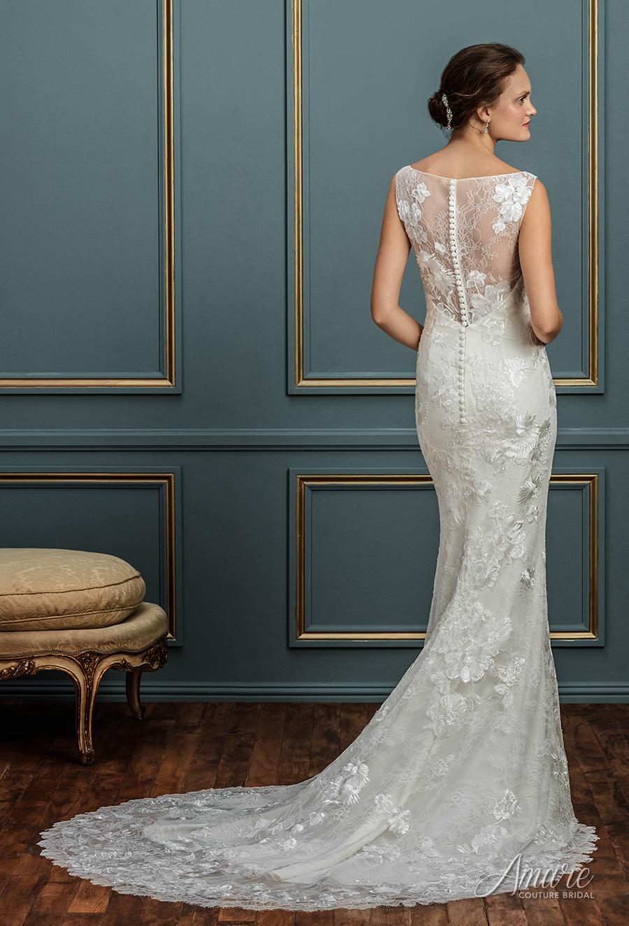 amare couture spring 2017 bridal sleeveless bateau neckline full embellishment elegant lace sheath wedding dress covered lace back chapel train (natalia) bv