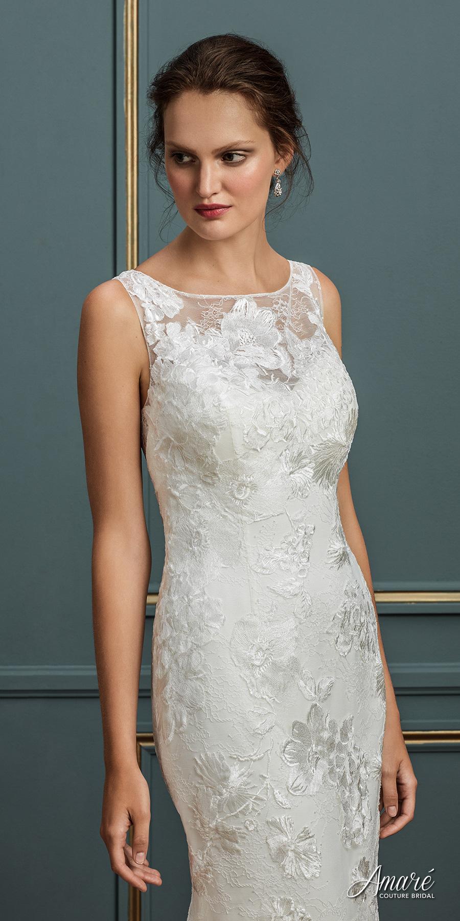 amare couture spring 2017 bridal sleeveless bateau neckline full embellishment elegant lace sheath wedding dress covered lace back chapel train (natalia) zv