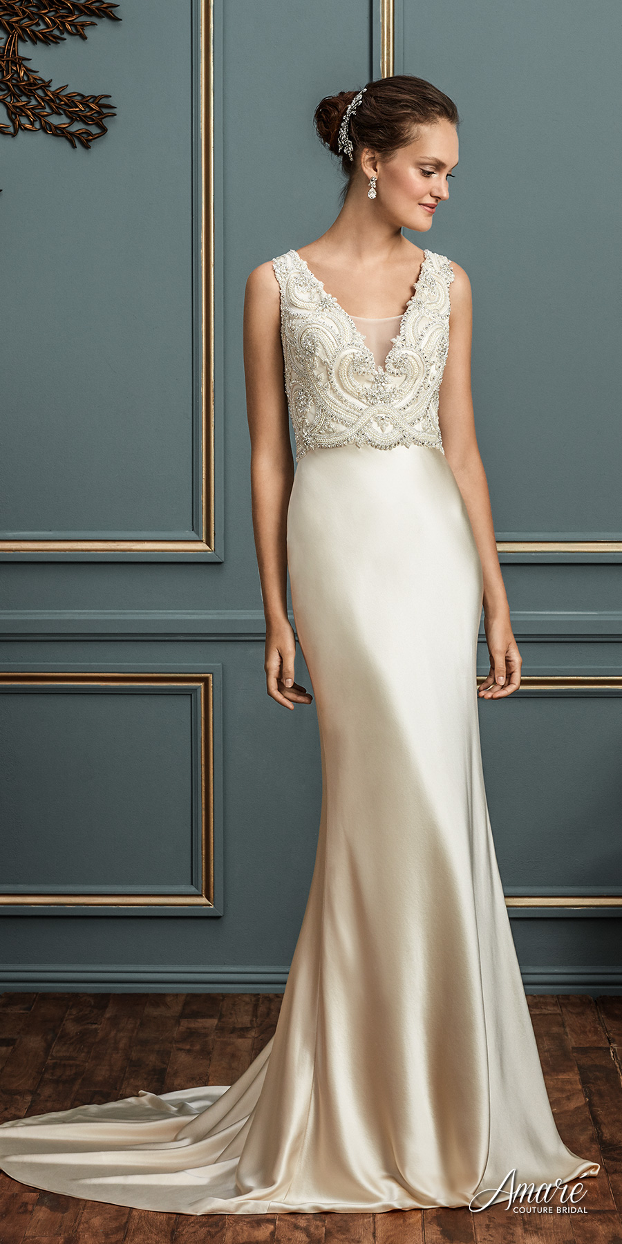 amare couture spring 2017 bridal sleeveless deep v neck heavily embellished bodice satin skirt elegant glamorous sheath wedding dress chapel train open v back chapel train (charlotte) mv