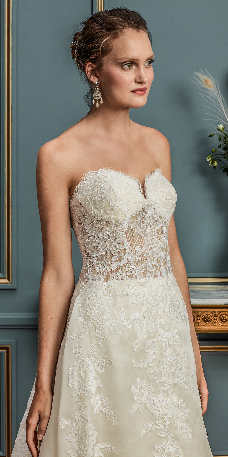 amare couture spring 2017 bridal strapless sweetheart neckline heavily embellished bodice elegant a  line wedding dress chapel train (aurelia) mv