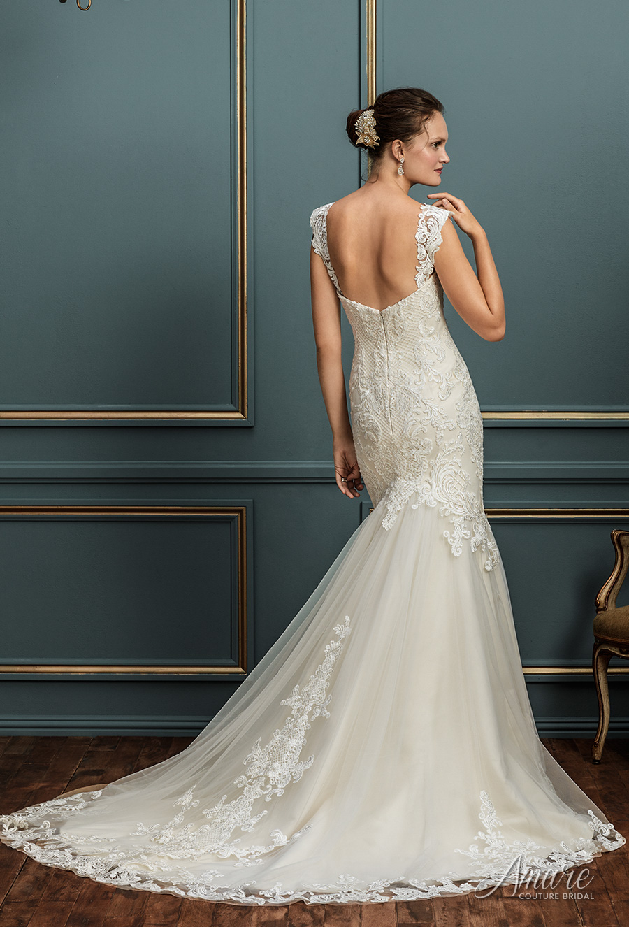 amare couture spring 2017 bridal strapless sweetheart neckline heavily embellished bodice elegant fit and flare wedding dress chapel train (juliana) bv
