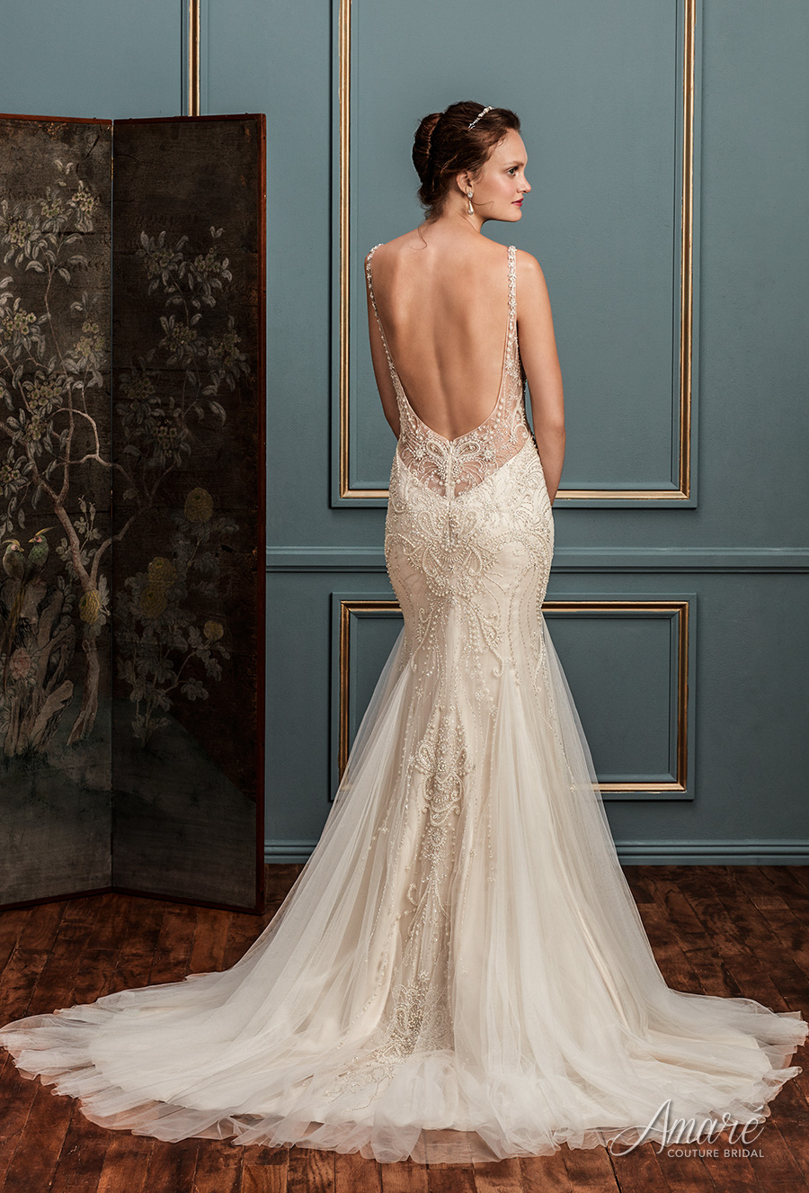 amare couture spring 2017 bridal thin strap illusion scoop sweetheart neckline heavily embellished bodice elegant glamorous fit and flare wedding dress open back chapel train (evangeline) bv