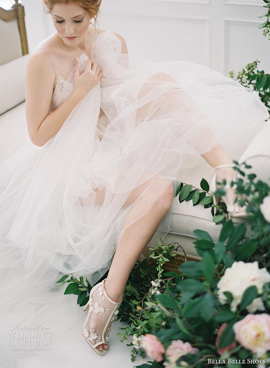 bella belle shoes bridal wedding shoes booties peek top high heels sheer embroidered