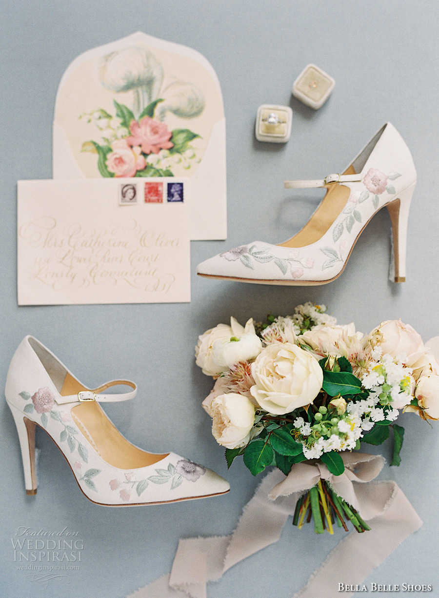 bella belle shoes bridal wedding shoes floral embroidered mary jane high heels pump with strap (8)