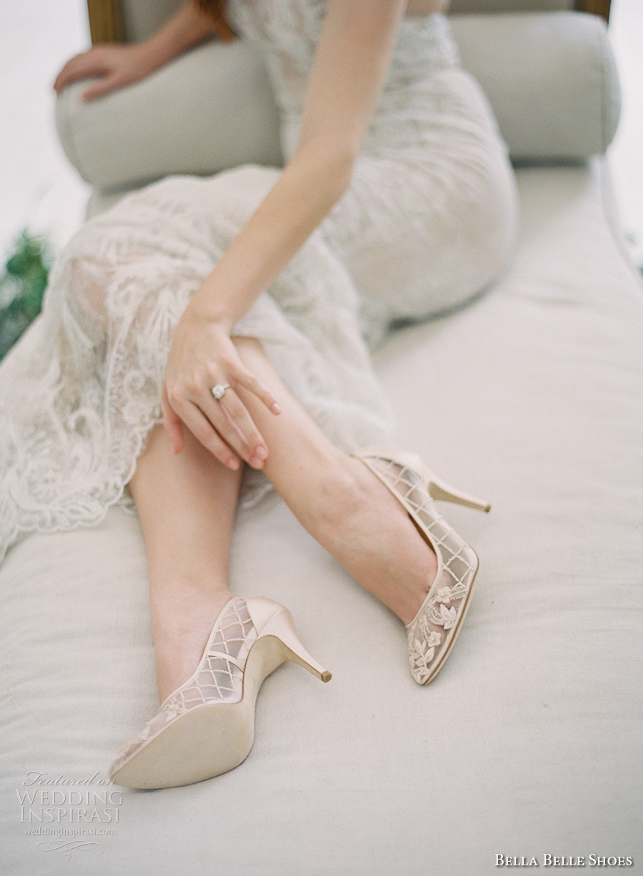 bella belle shoes bridal wedding shoes white sheer embrodered pump high heels shoes