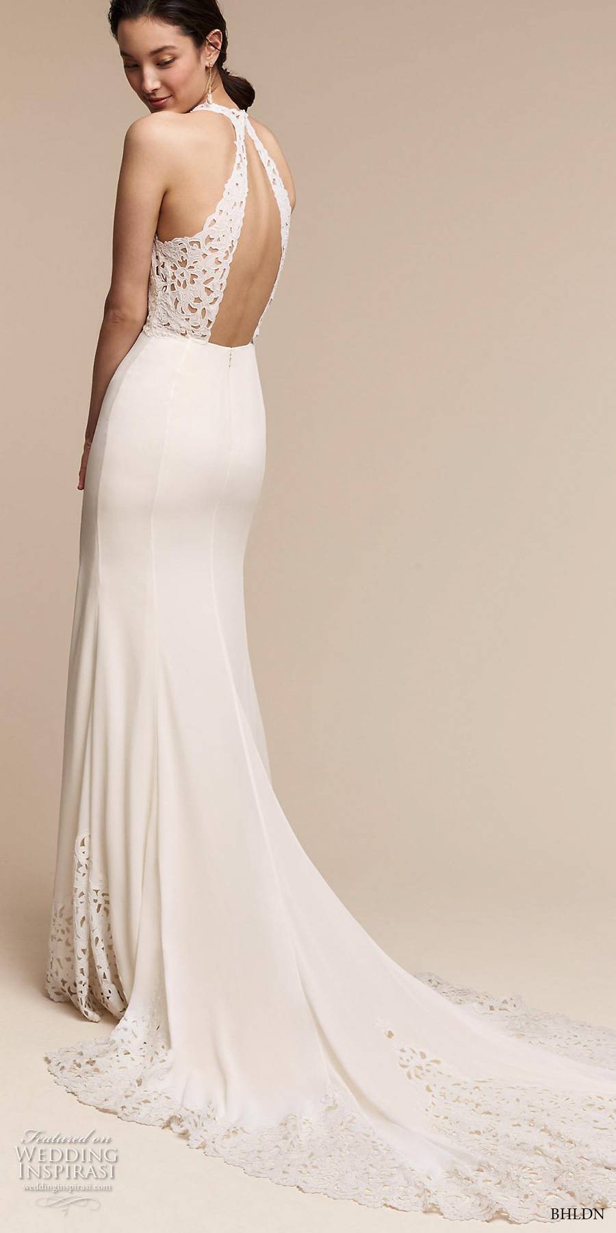bhldn spring 2017 bridal sleeveless deep v neck heavily emebellished bodice elegant romantic fit and flare wedding dress keyhole back chapel train (cruz) bv