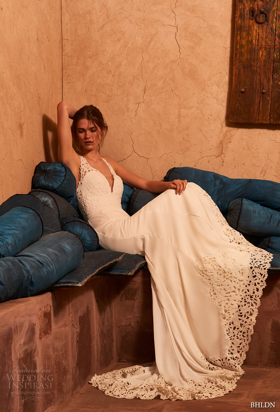 bhldn spring 2017 bridal sleeveless deep v neck heavily emebellished bodice elegant romantic fit and flare wedding dress keyhole back chapel train (cruz) mv
