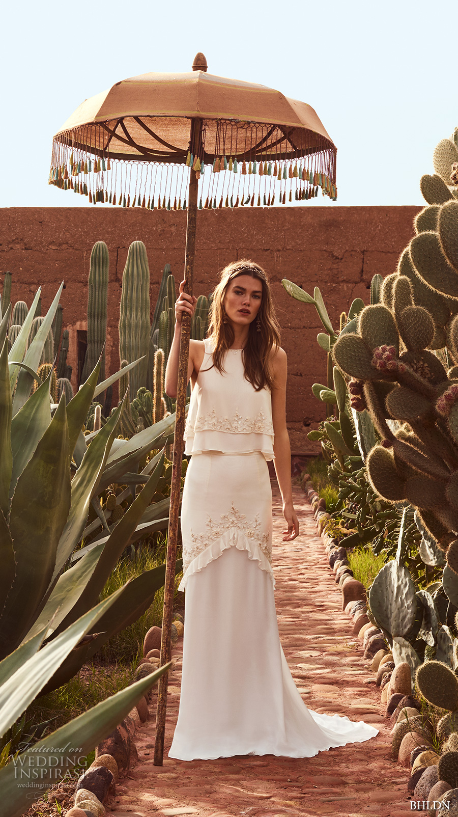 bhldn spring 2017 bridal sleeveless jewel neckline lightly embellished 2 piece elegant bohemian column wedding dress short train (allegra) mv