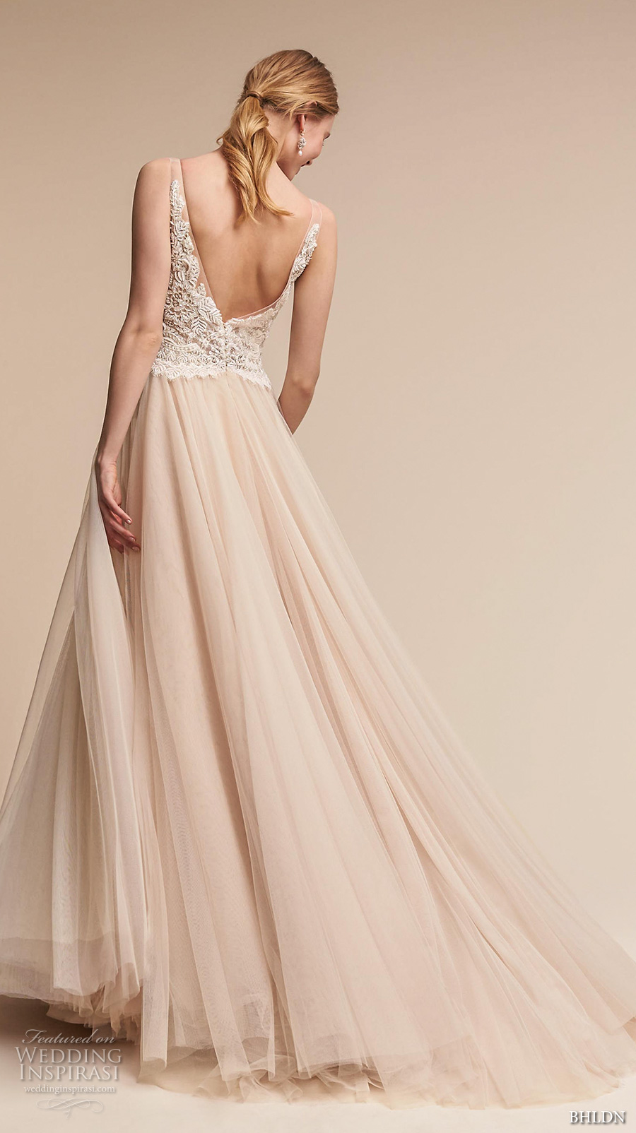 bhldn spring 2017 bridal sleeveless v neck heavily embellished bodice tulle skirt romantic princess blush color wedding dress open v back chapel train (chantal) bv
