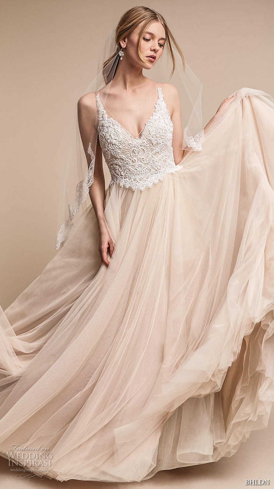 bhldn spring 2017 bridal sleeveless v neck heavily embellished bodice tulle skirt romantic princess blush color wedding dress open v back chapel train (chantal) mv