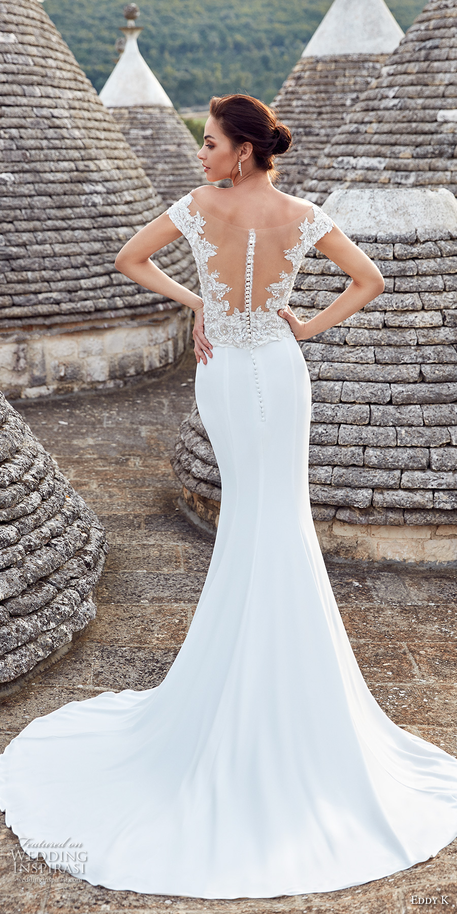 eddy k 2018 bridal cap sleeves deep plunging v neck heavily embellished bodice elegant glamorous sheath wedding dress short train (ottavia) bv