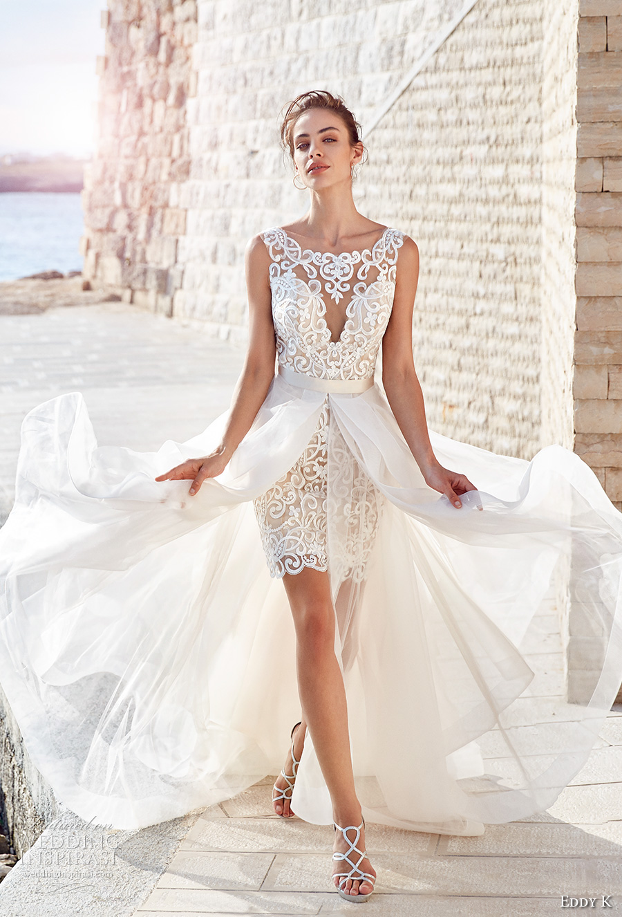 eddy k 2018 bridal sleeveless bateau sweetheart neckline full embellishment glamorous above the knee miniskirt short wedding dress a line overskrit (claudia) mv