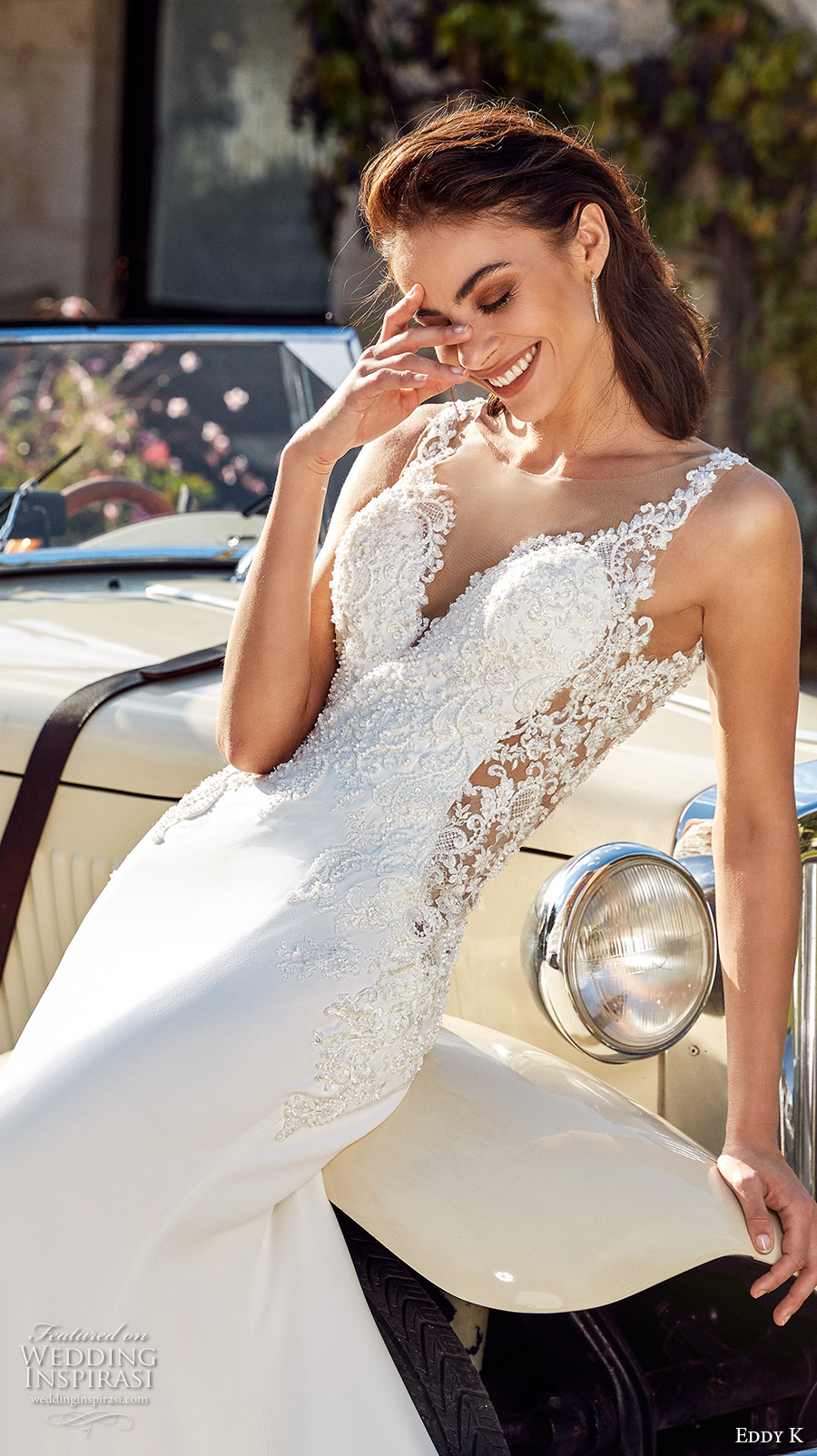 eddy k 2018 bridal sleeveless embroidered strap deep sweetheart neckline heavily embellished bodice elegant sheath wedding dress sheer back chapel train (isabel) zv