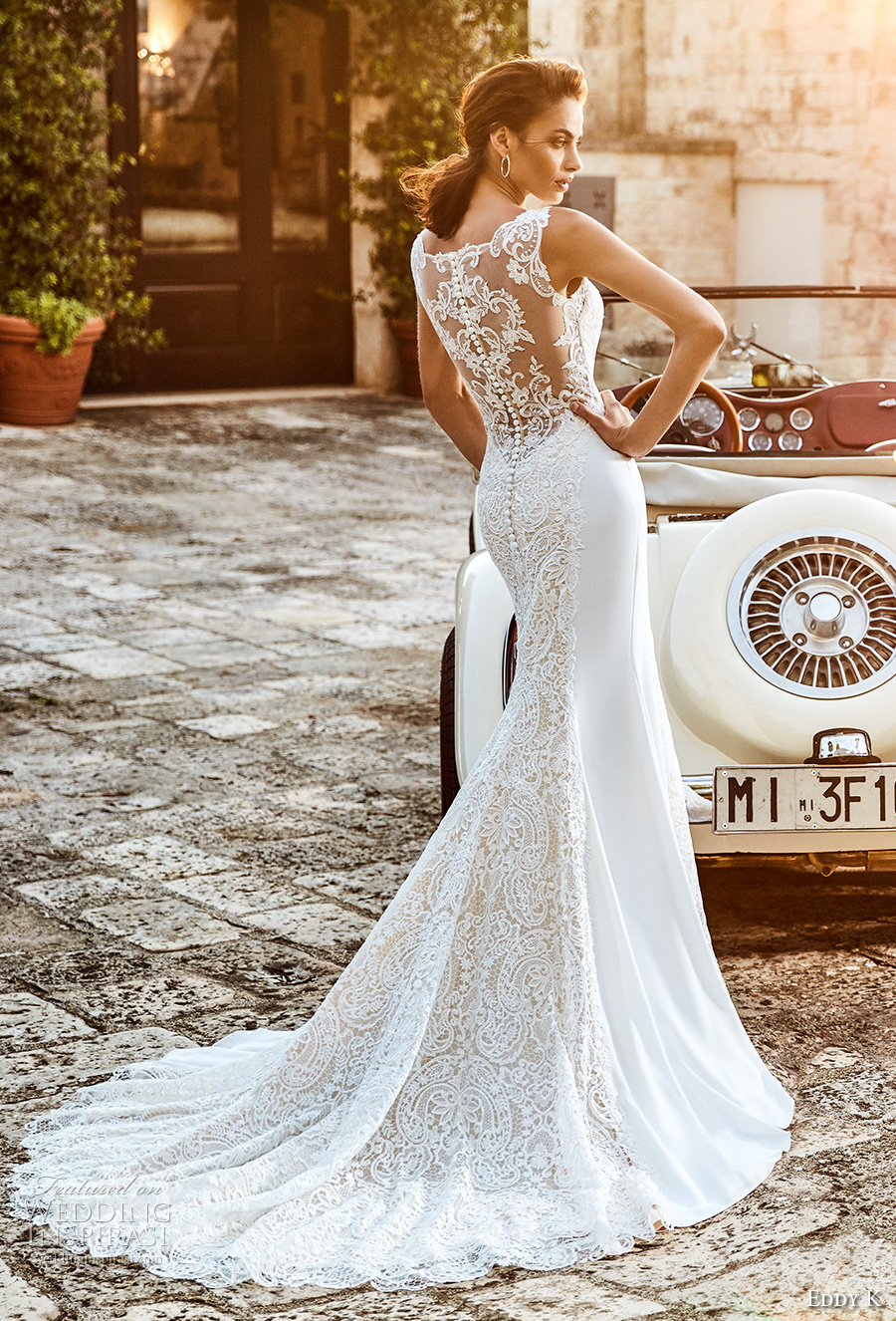 eddy k 2018 bridal sleeveless lace strap sweetheart neckline heavily embellished bodice elegant sheath wedding dress covered lace back chapel train (mara) bv
