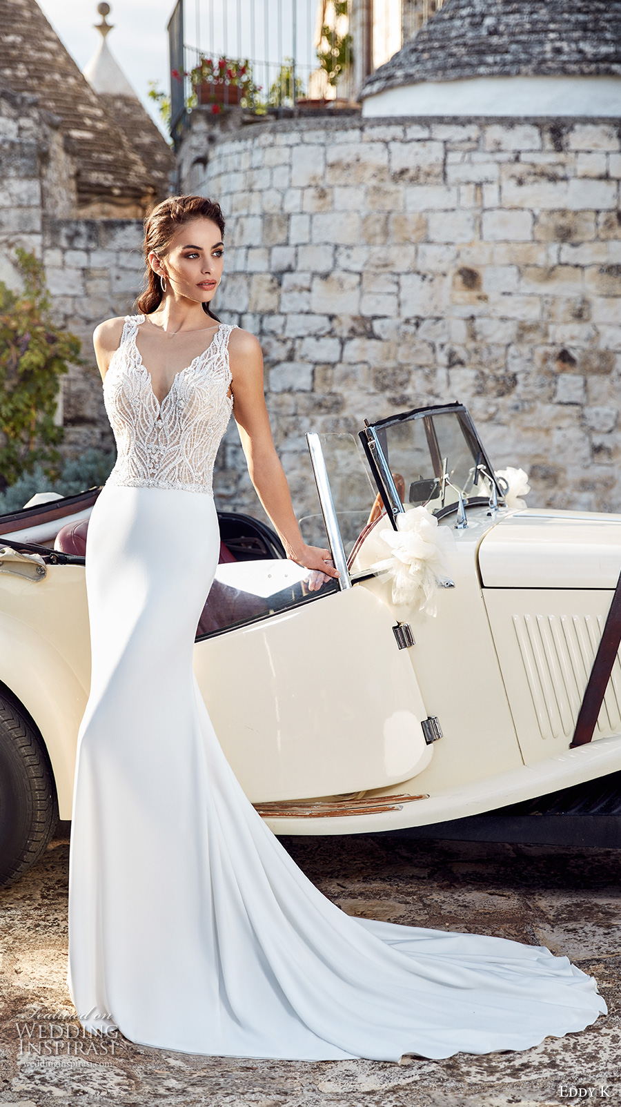 eddy k 2018 bridal sleeveless lace strap v neck heavily embellished bodice elegant sheath wedding dress open v back chapel train (lola) mv