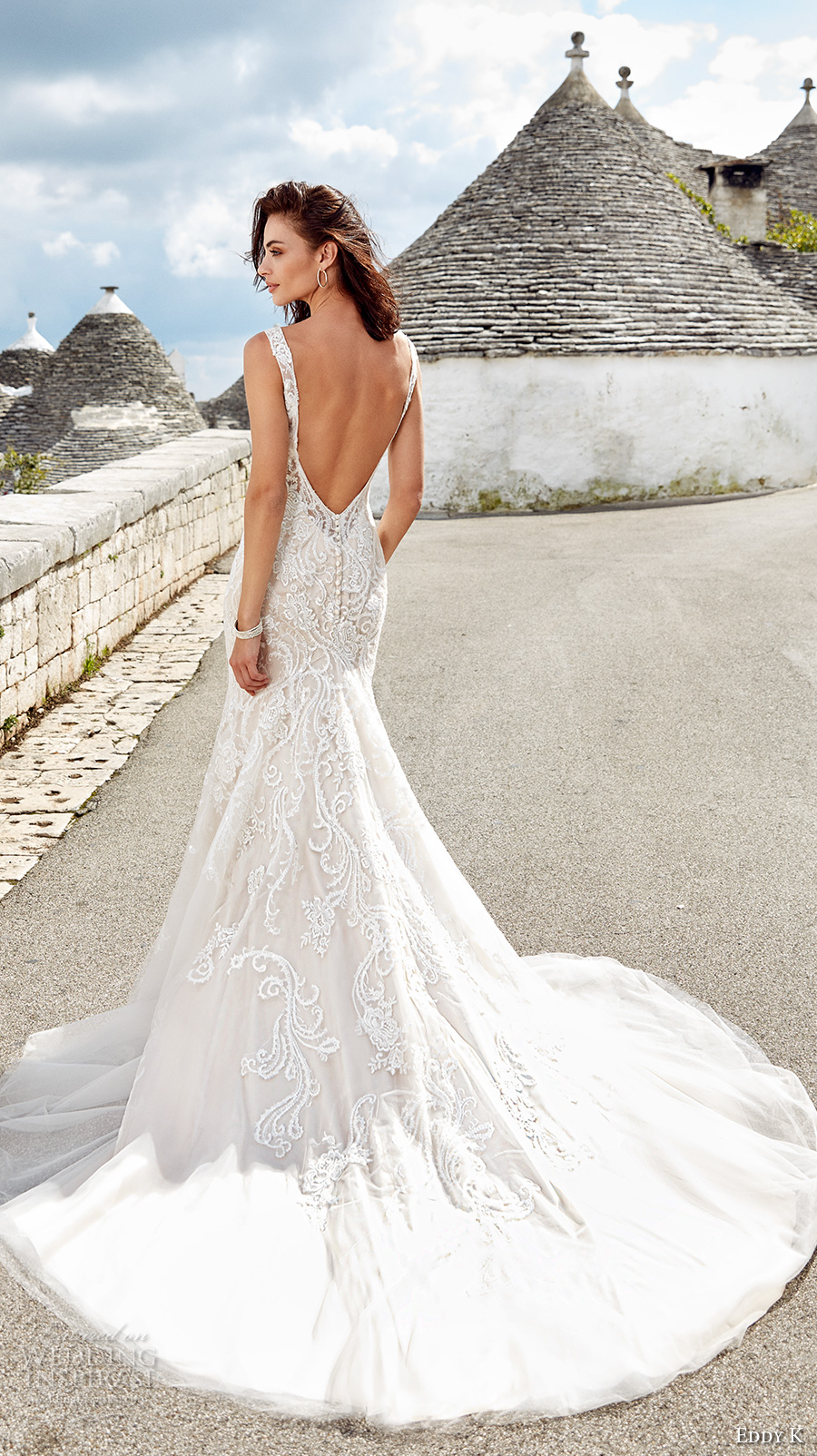 eddy k 2018 bridal sleeveless v neck heavily embellished bodice elegant glamorous fit and flare wedding dress open v back chapel train (bianca) bv