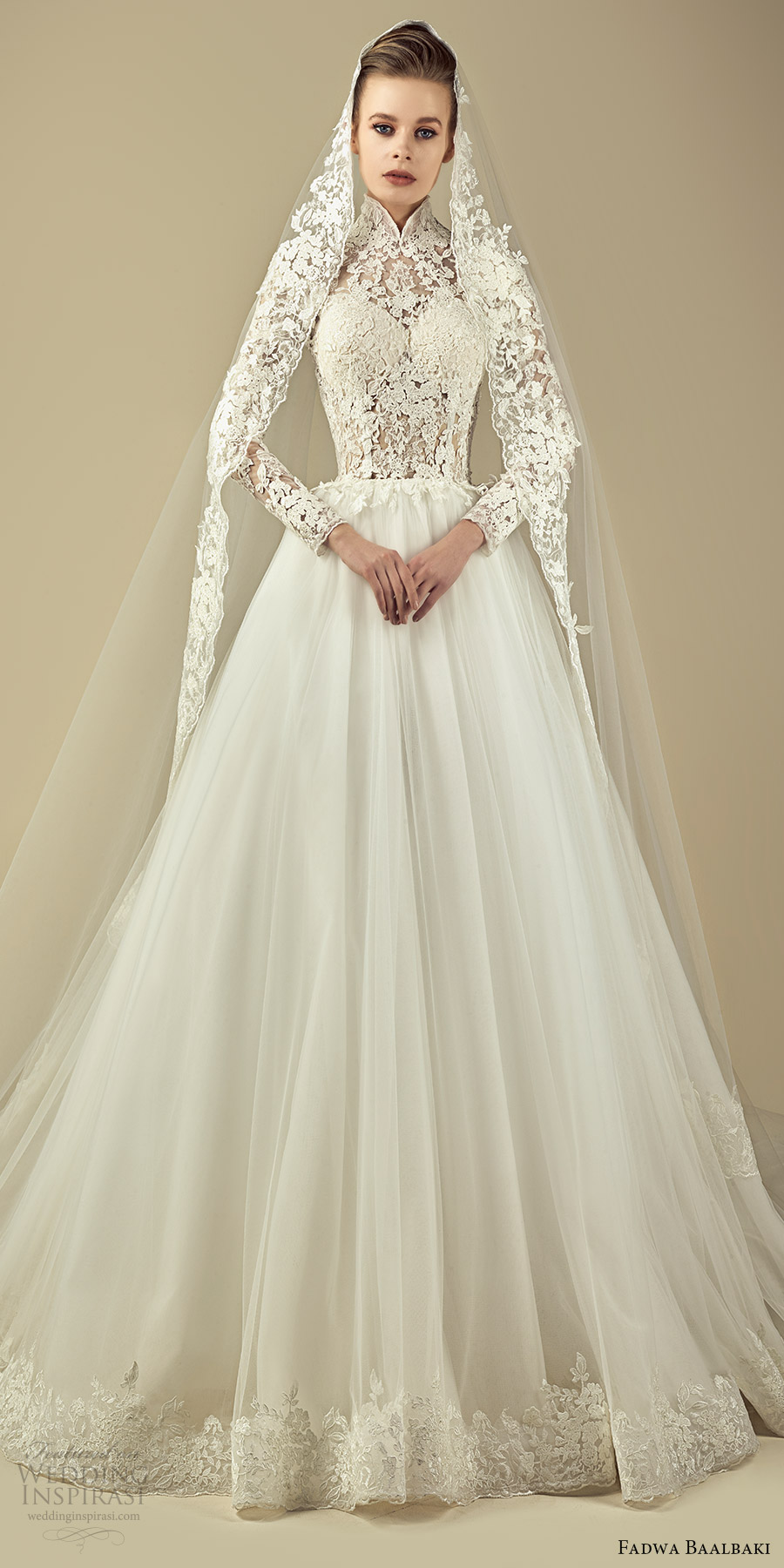 fadwa baalbaki spring 2017 couture illusion long sleeves high neck lace a line wedding dress (11) mv