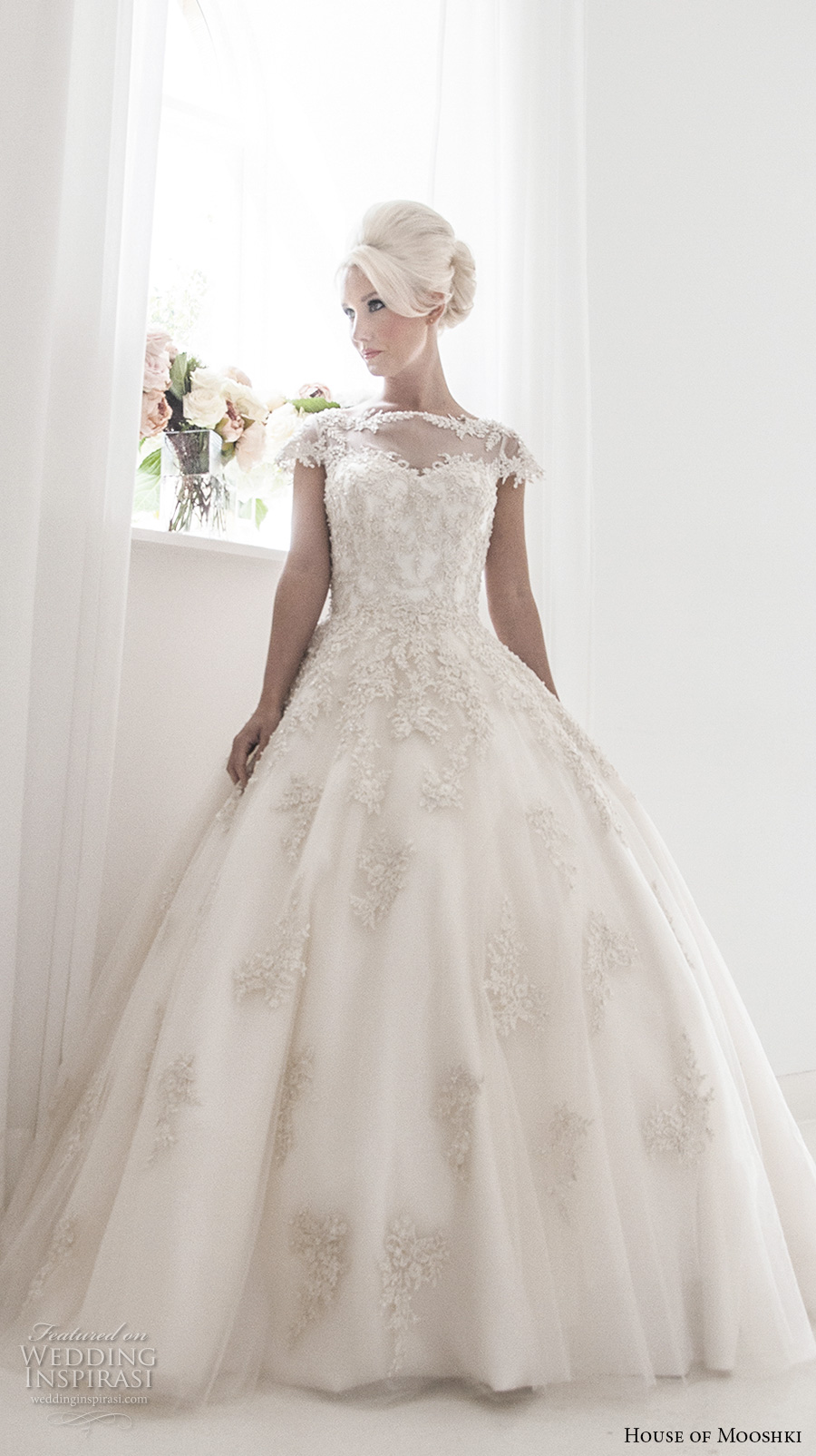 house of mooshki 2017 bridal cap sleeves illusion bateau sweetheart neckline heavily embellished bodice romantic princess ball gown a  line wedding dress sheer back chapel train (alice) mv