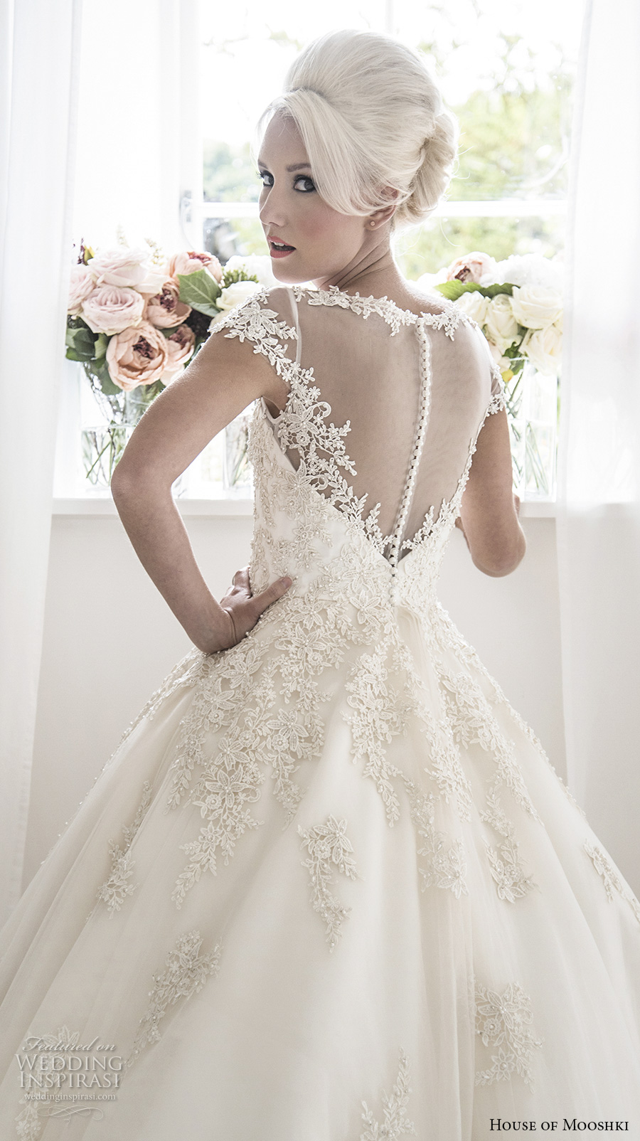 house of mooshki 2017 bridal cap sleeves illusion bateau sweetheart neckline heavily embellished bodice romantic princess ball gown a  line wedding dress sheer back chapel train (alice) zbv