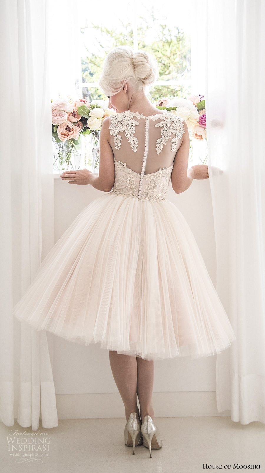 house of mooshki 2017 bridal sleeveless illusion bateau semi sweetheart neckline heavily embellished bodice pleated skirt knee length blush color short wedding dress lace back (rosie) bv