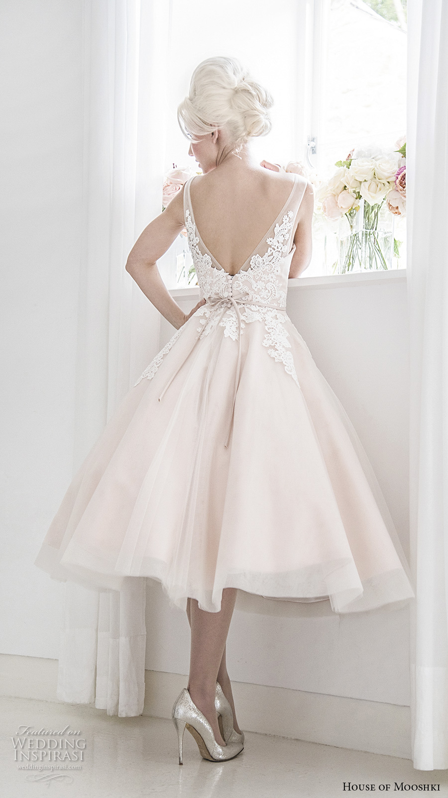 house of mooshki 2017 bridal sleeveless v neck heavily embellished bodice romantic pink color tea length short wedding dress open v back (isadora) bv