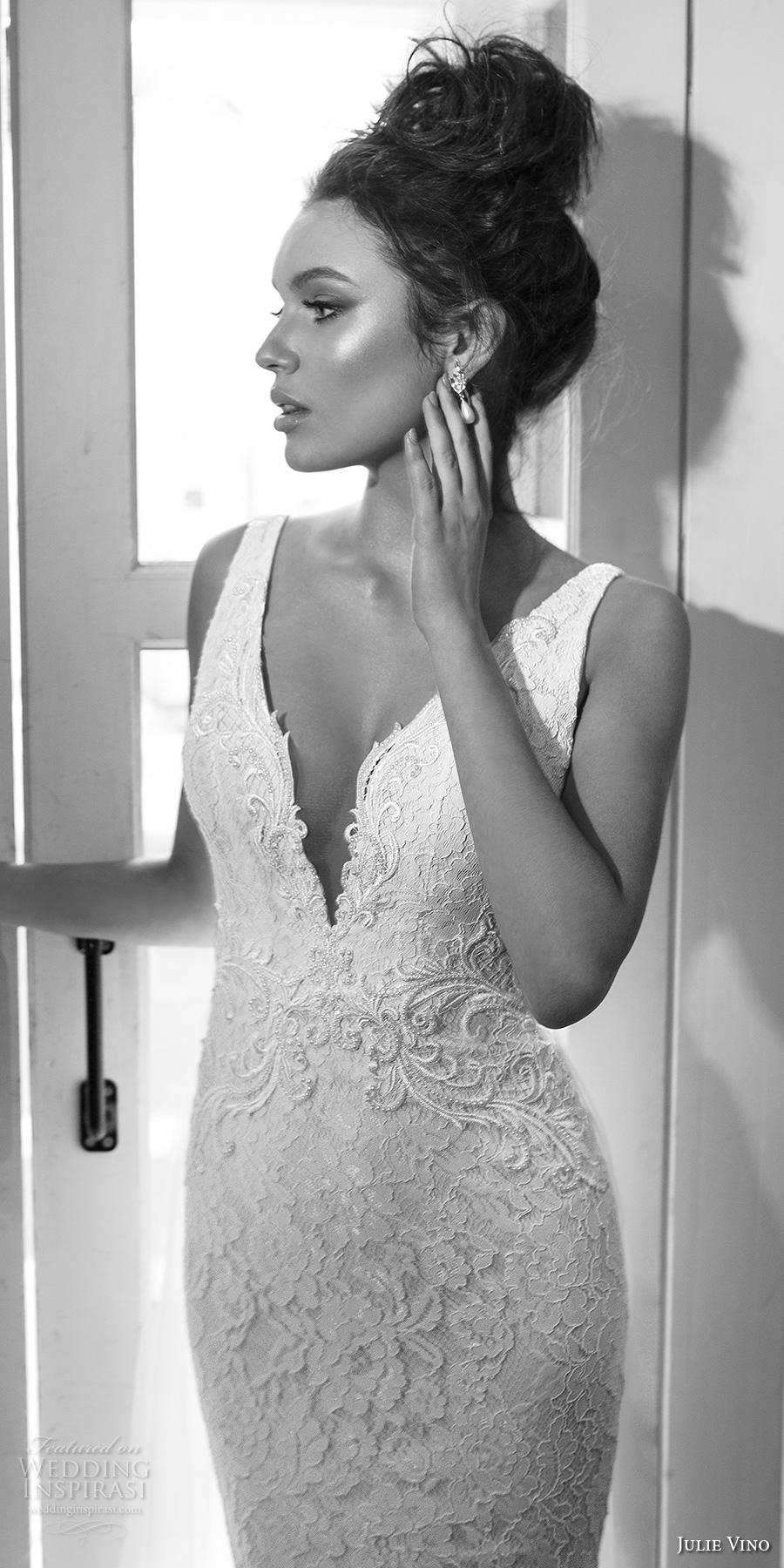 julie vino 2017 bridal sleeveless deep plunging v neck full embellishment elegant fit and flare wedding dress chapel train (1260) zv