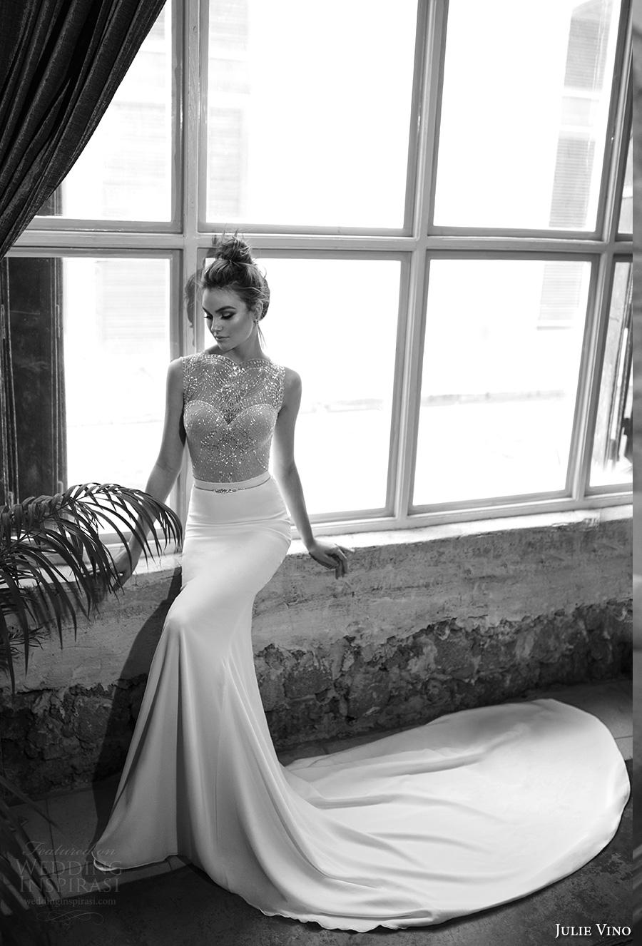 julie vino 2017 bridal sleeveless illusion bateau sweetheart neckline heavily embellished bodice elegant glamorous sheath wedding dress chapel train (1253) mv