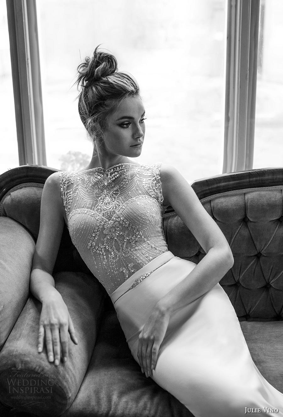 julie vino 2017 bridal sleeveless illusion bateau sweetheart neckline heavily embellished bodice elegant glamorous sheath wedding dress chapel train (1253) zv