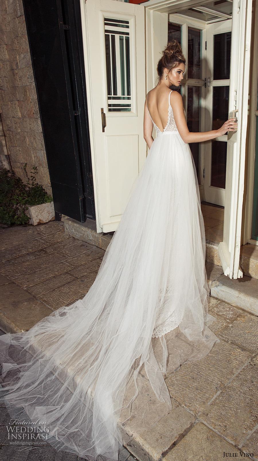 julie vino 2017 bridal spagetti strap deep plunging v neck full embellishment elegant sexy sheath wedding dress a  line overskirt open low v back chapel train (1255) bv