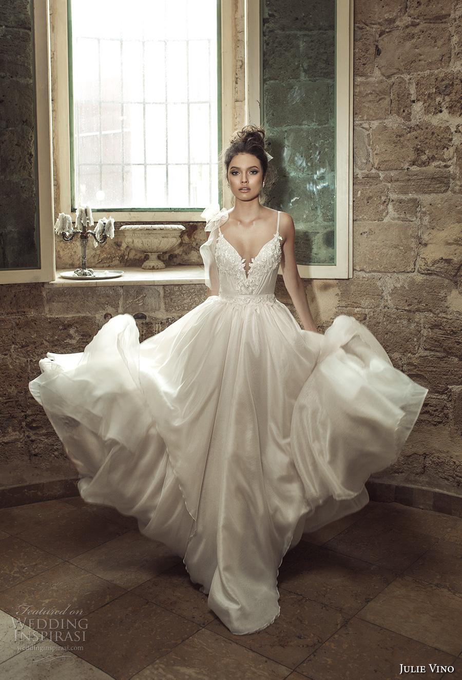 julie vino 2017 bridal spagetti strap deep v neck heavily embellished bodice romantic sexy a  line wedding dress open v back sweep train (1261) mv