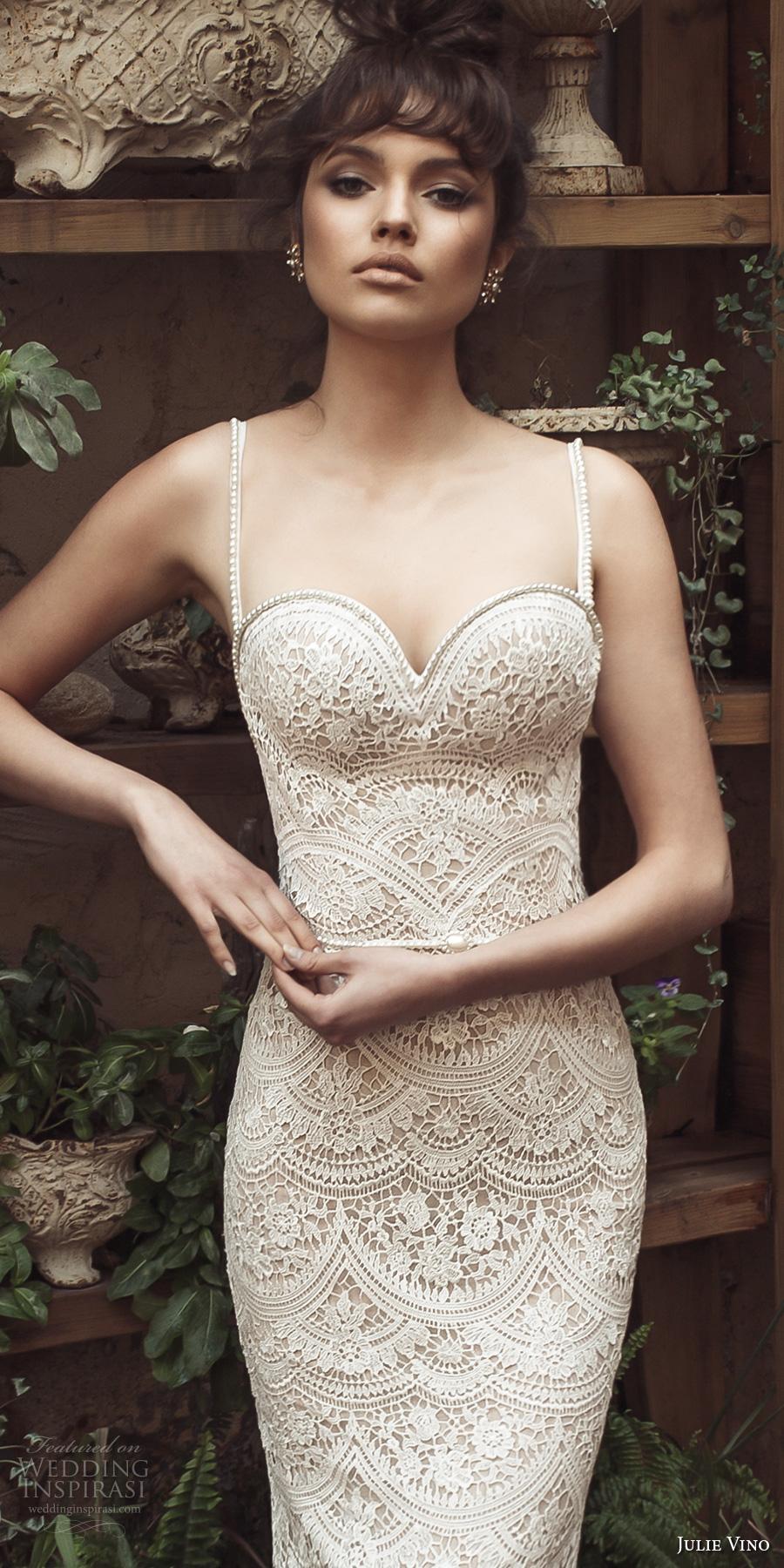julie vino 2017 bridal spagetti strap sweetheart neckline full embellishment elegant romantic sheath wedding dress open low back short train (1254) zv