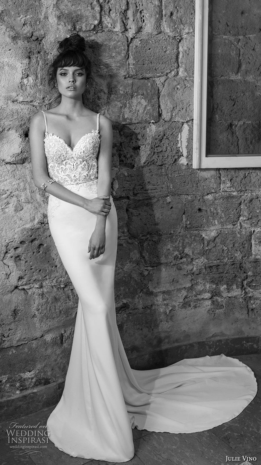 julie vino 2017 bridal spagetti strap sweetheart neckline heavily embellished bodice fit and flare sheath wedding dress open low back chapel train (1259) mv