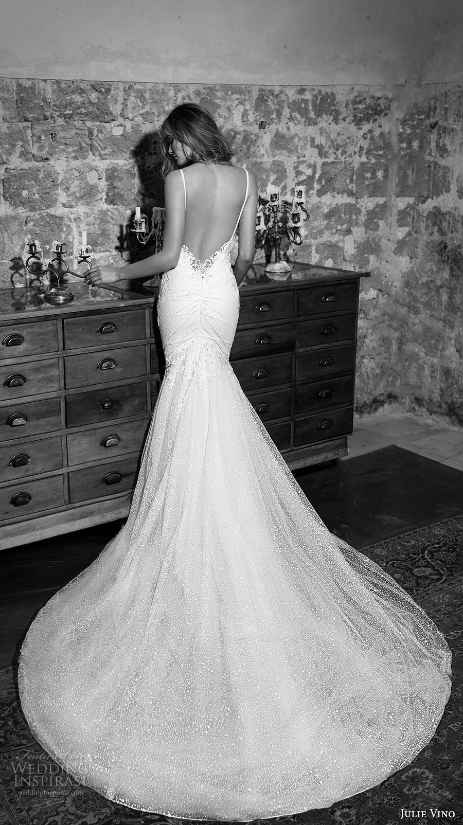 julie vino 2017 bridal spagetti strap sweetheart neckline heavily embellished bodice sexy mermaid wedding dress open low back chapel train (1252) bv
