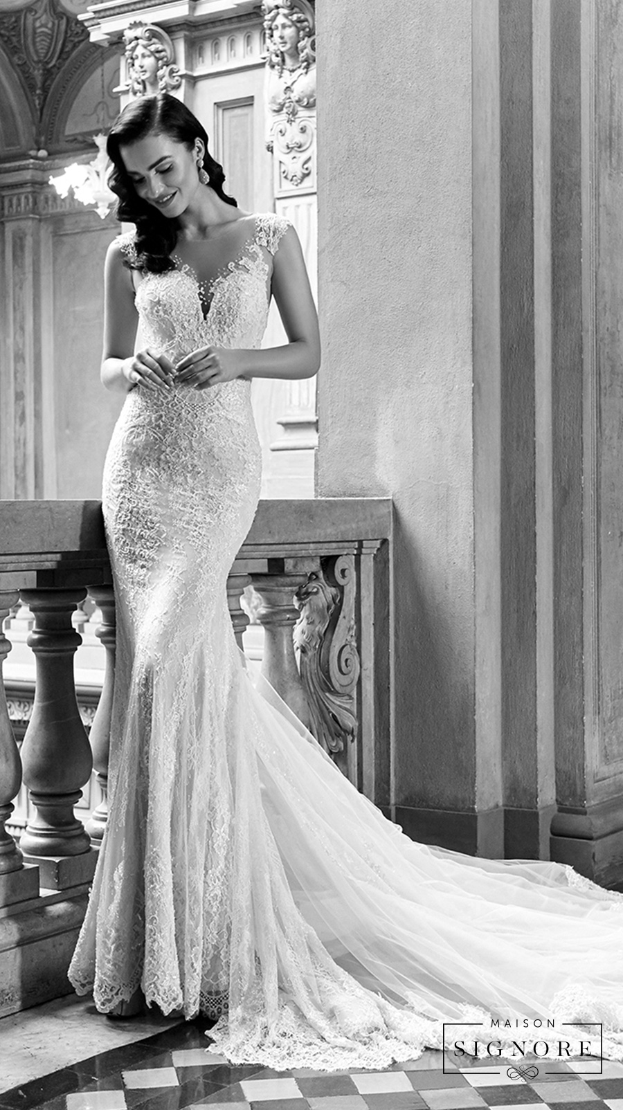 maison signore excellence long sleeves wedding gown 2