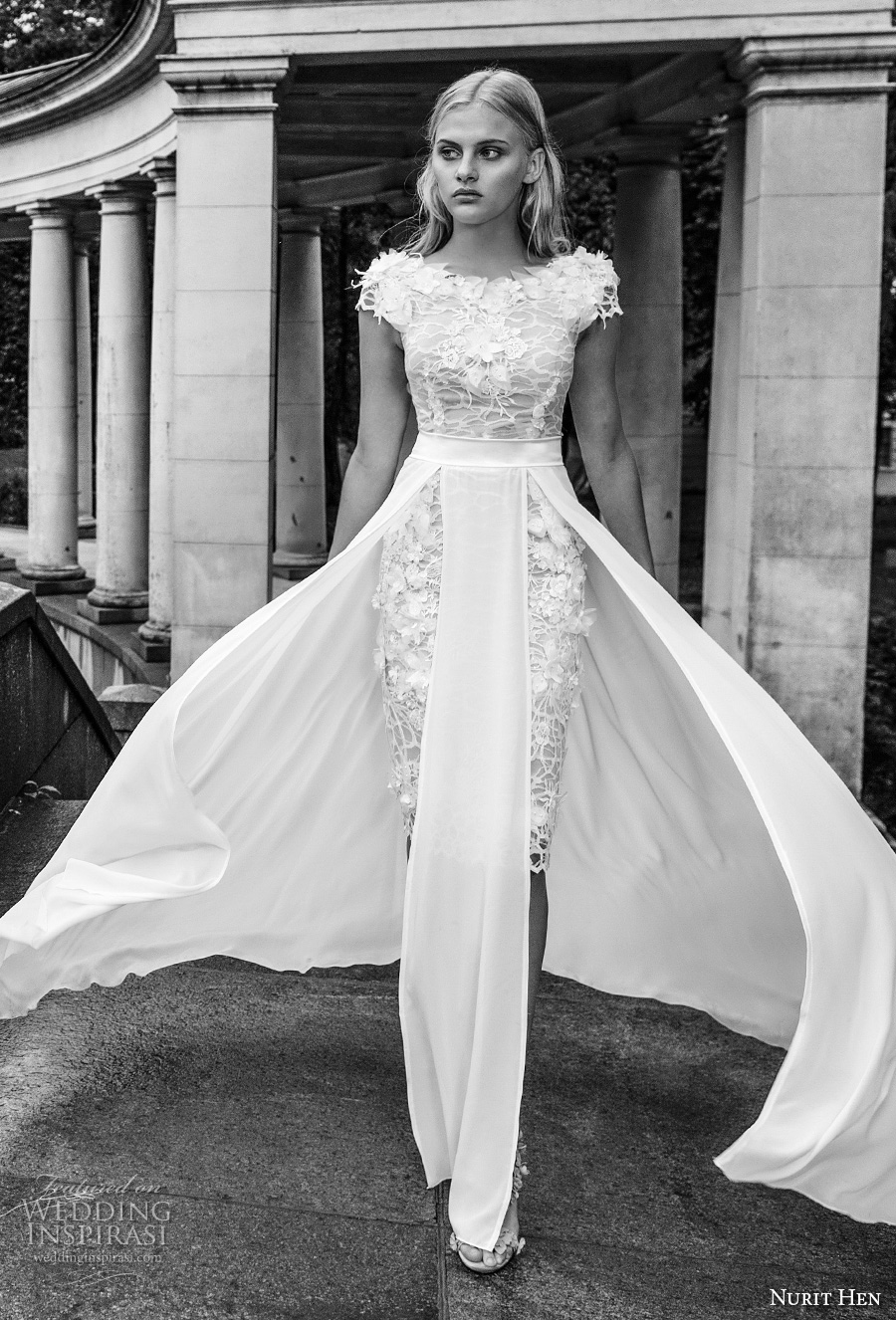 nurit hen 2017 bridal cap sleeves bateau neckline full embellihsment romantic mini short wedding dress a  line overskirt (9) mv