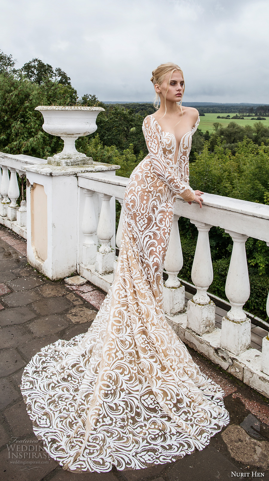 nurit hen 2017 bridal long sleeves deep plunging sweetheart neckline full embellishment galmorous sexy ivory color sheath wedding dress open back chapel train (8) mv