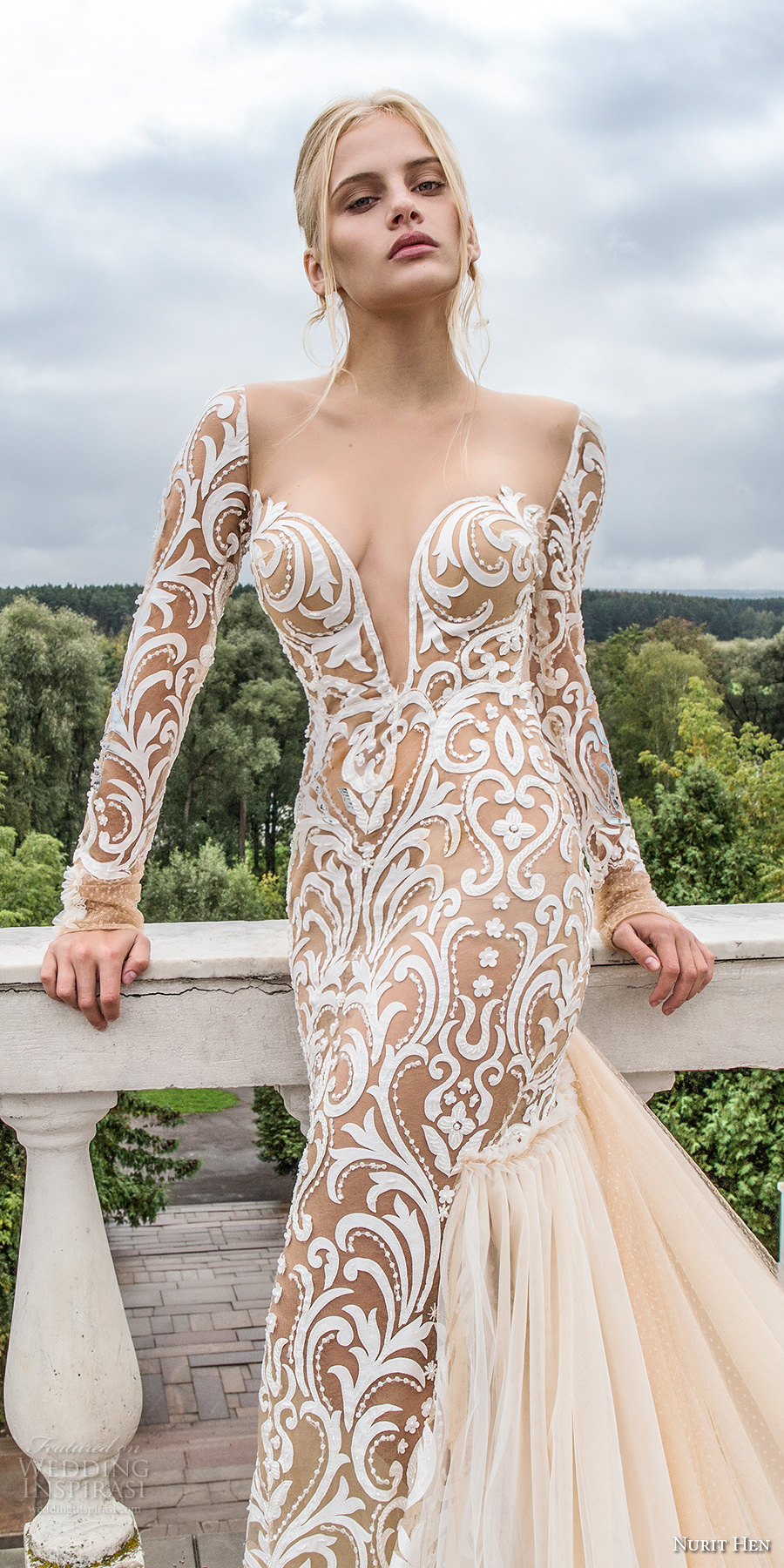 nurit hen 2017 bridal long sleeves deep plunging sweetheart neckline full embellishment galmorous sexy ivory color sheath wedding dress open back chapel train (8) zv mv