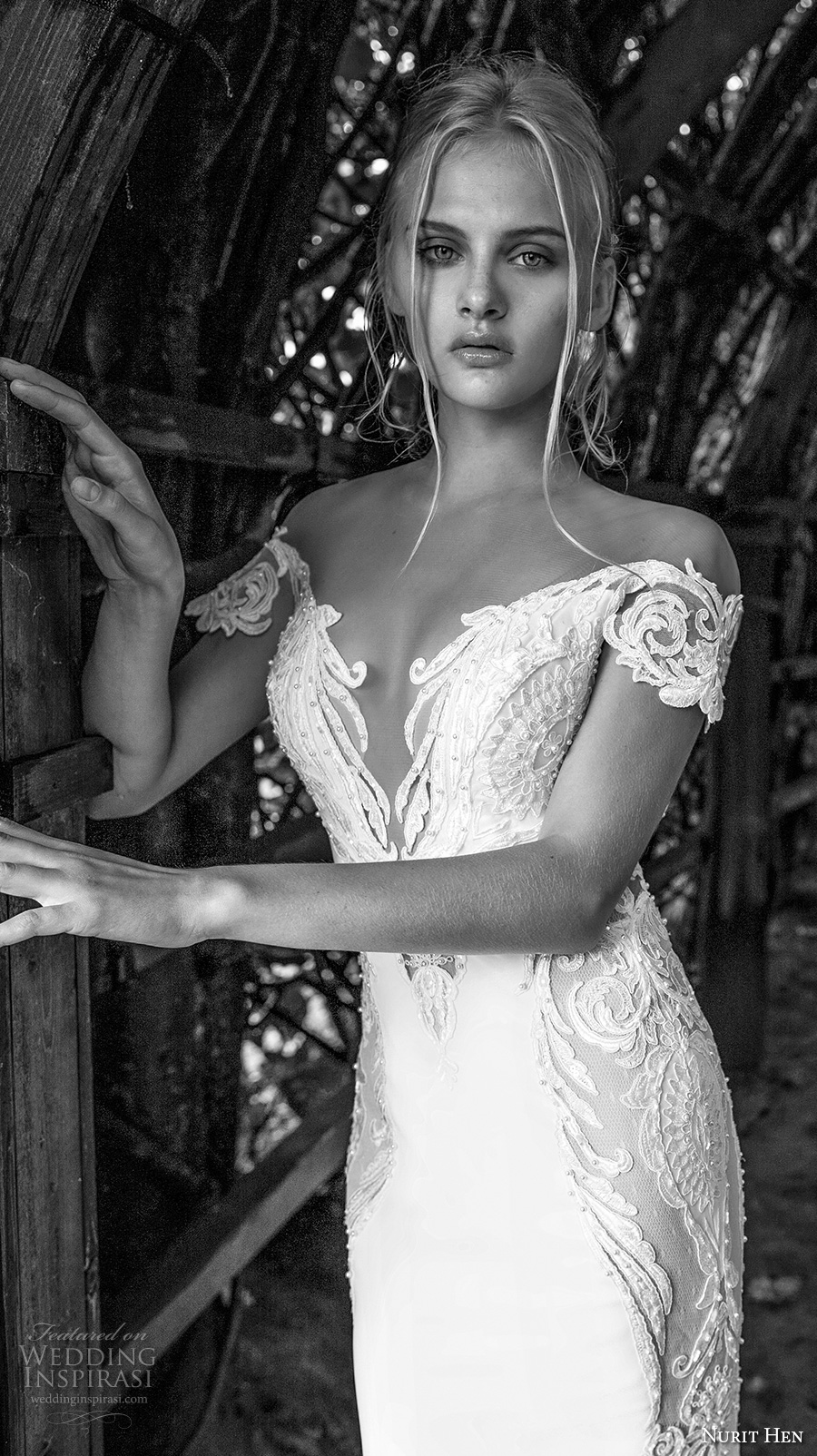 nurit hen 2017 bridal off the shoulder short sleeves deep plunging v neckline heavily embellished bodice elegant fit and flare wedding dress open v back royal train (6) zv