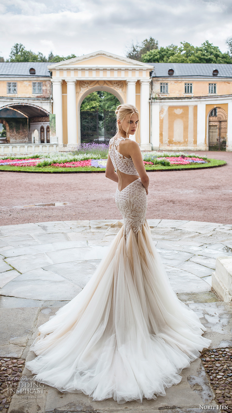 nurit hen 2017 bridal sleeveless sweetheart neckline fully embellished bodice tulle skirt elegant glamorous mermaid wedding dress illusion lace back chapel train (17) bv