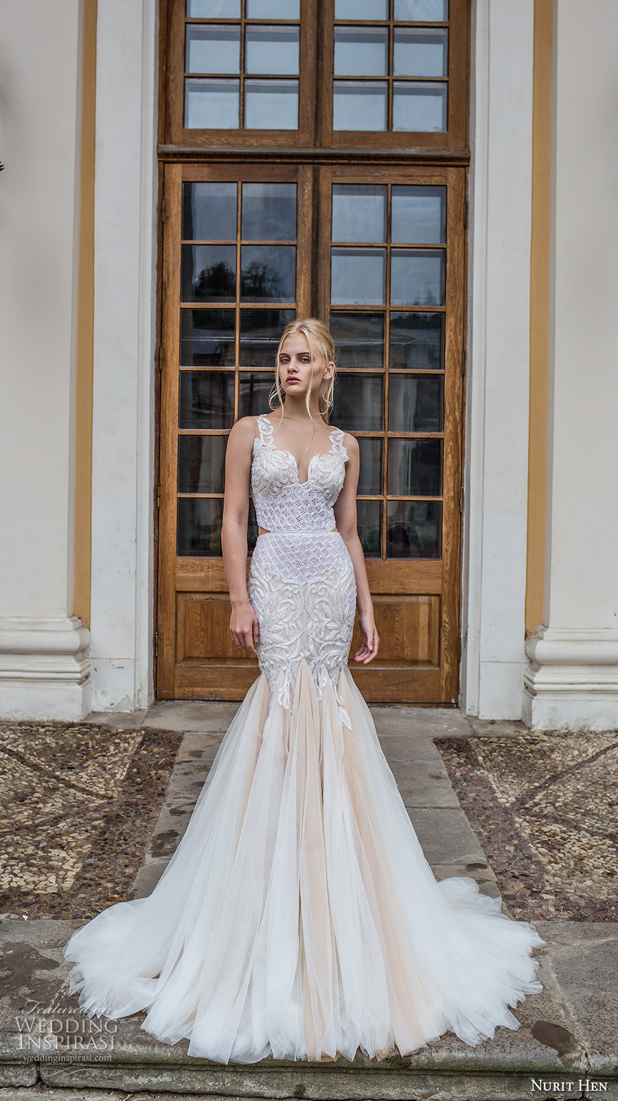 nurit hen 2017 bridal sleeveless sweetheart neckline fully embellished bodice tulle skirt elegant glamorous mermaid wedding dress illusion lace back chapel train (17) mv