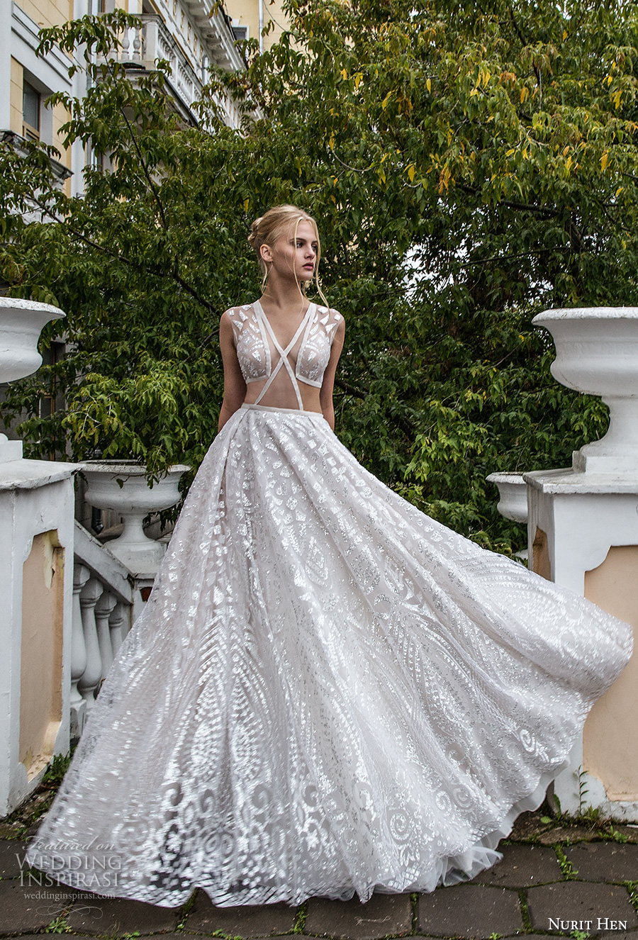 nurit hen 2017 bridal sleeveless v neck full embellishment sexy glamorous a  line wedding dress chapel train (18) mv