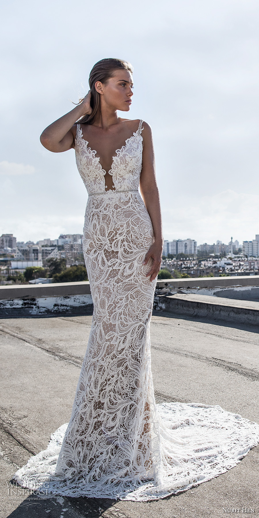 nurit hen 2017 bridal thin strap deep plunging v neck full embellishment sexy elegant sheath wedding dress chapel train (24) mv